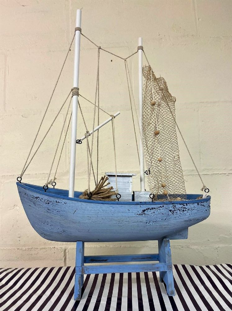 62cm x 43cm Large Pale Blue Trawler Fishing Boat Ornament